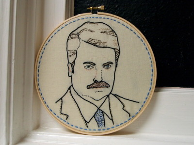 i want this for my house.  ktburrr:  So, I embroidered my favorite TV character : Ron Swanson. Flickr