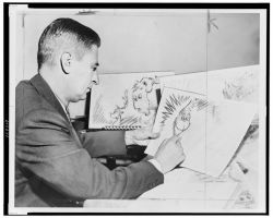 theniftyfifties:  Dr. Seuss at work on 'How the Grinch Stole Christmas', 1957.