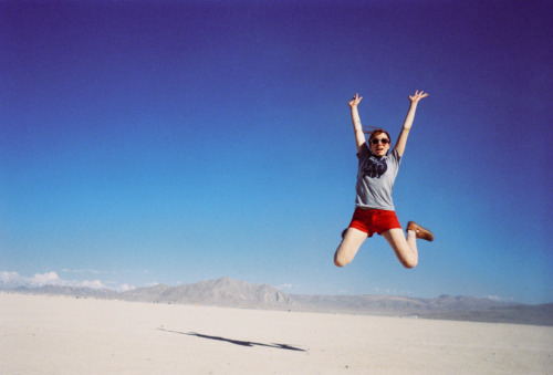 laurenlemon:  The playa is the best place for jump photos. See the rest of my photos from Burning Man here.    Black Rock City, NV - August 2011 ©Lauren Randolph