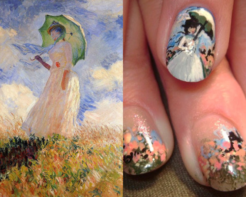 beautylish:  Check out these Monet inspired nails! Click the link for more amazing nail art inspired by art history!   wish i was better at painting my own nails.