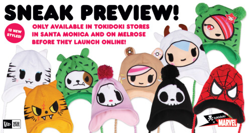 albotas:  tokidoki Knit Hats Keep Heads Warm, Ridiculous tokidoki, New Era, and Marvel have teamed up to keep your cranium and ears warm this summer. These knit hats feature both tokidoki original characters and marvel super heros. 12 hats are promised, but this photo only shows 9. Who will the three mystery characters be? I'm hoping for either the Superboy, Cactus Rocker, or Kaiju characters, but I'll be fine if I have to settle for Bastardino.