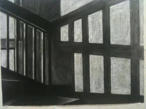 Stairwell. Erasure Technique. Compressed charcoal on 22x30 white Stonehenge. I had a lot of fun with the cast shadow from the railing/window.