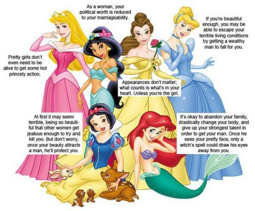 "kristionasoapbox:  As much as I love Disney, they've got a point.  OOC: I kinda feel they looked wayyy too deep into Disney and missed the real point. Cinderella went after what she wanted. She did something for herself. She went to the ball, and JUST SO HAPPENED to find a Prince who liked her. It doesn't mean he was like ""oohh pretty girl. Gonna marry her."" They could have talked about alot of things. You don't really know. Making that assumption just kinda ruins it.  Snow White.. Snow White is about having friends there to help you in your most dire of times. She might have been beautiful, but never did she once say ""oh I'm a beeautifull woman.."" she was too focused on doing good things for others. The man didn't even come in until the end. (and once again, he might have seen her looks, but he might have also seen that she was sweet, and obviously had little friends there with her.. so.. maybe she's a good person too?)  Sleeping Beauty. That's a really hard one to even analyze to be honest. The original story and the Disney story are more moving pieces of art than real ""story-plot-lines."" But like the fairies say, ""Love Conquers All."" And it does. Love can travel through vines and sleepy years, distances and disguises. It always wins if its real love. (Again, nothing really about beauty.)  Jasmine .. well lets be honest. The whole ""having to marry for political gain"" is something that happens even today. And that's just how it was back then too. It was about who you could marry and who would bring in the most money to your father to keep the peace. It might not be that way here in the US, or in other countries, but we're talking about the middle east-back then in history. Disney is just trying to keep some historical accuracy to the story. and at the end, does she marry for wealth? No. She marries the man who has the largest heart-not bank account.  To even reduce Belle to the whole ""Beauty is all that matters.."" is just.. awful. I don't even know how to defend her without getting angry. Belle is everything that I always wanted to be growing up, and being an adult. It's looking PAST the image of a person, and looking deep into the heart. If you know anything about the story of Beauty and the Beast, Beauty has two other sisters who are cruel and beautiful, and yet Beauty is kind and gentle and doesn't ""depend on her looks."" Belle had a beautiful heart. To be honest, I think that's why Beauty even has her name. Because she's beautiful on the inside. She touches people's lives and the Beast's heart.  So.  they might have some ""points"" but.. you're totally missing what Disney is trying to say. This world isn't about beauty and looks, and I don't think others should be trying to reduce Disney to that either. It's saddening.   And I just realized I forgot Ariel! How could I forget her! I play her!  First. If you know ANYTHING about Ariel, she's ALWAYS wanted to be a human. She ALWAYS dreamed of going to the surface and being different. Lots of people do alot of things for their dreams. You can be an actress and get a nose job, or you can fall in love with a man and change your hair color because he likes brunettes instead of blondes. I'm not saying that its okay to change, but if its a change that YOU'VE ALWAYS WANTED TO PURSUE.. then.. why not? Second of all. Ariel did not change FOR Eric. She was drive by her father's verbal abuse.. (does everyone just forget that scene or something?!) And Ursula was the one who was like ""Ooooh MANNN. You could go after him! Have a place to stay instead of living on the streets and suffering."" and LETS BE HONEST it was just Disney Fate that Eric was on the beach that day and found her. Love drives you to do alot of crazy things, dreams drive you to do alot of crazy things. Eric didn't fall in love with her looks… give him credit. He fell in love with her personality. You don't have to speak to have a personality. We're so focused on ""being silenced"" yet.. sooo many things can be said with just a glance or a smile, or an action. Actions SPEAK LOUDER than words."