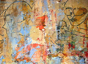 Kevin Regan Mullin  Brooklyn Wall Cinema Painting mixed media on canvas, detail, 36 x36""