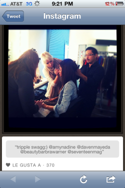Behind the scenes with Shake it up starlet Zendaya Coleman for Seventeen Magazine! She is so sweet! Issue comes out feb! I did eight new hairstyles on her! What kind of look do YOU think Zendaya should rock one day?!?!??