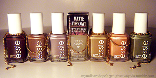 mynailsaredope:  MYNAILSAREDOPE'S 3RD GIVEAWAY! To show appreciation for all of the love, support & feedback received. Big ups to yall & good luck! ♥ ITEMS INCLUDED: - Hard Candy's Matte-ly In Love -  3 Gold Chains - 6 Essie Polishes: — Carry On — Mink Muffs — Chin Chilly — Case Study — Mamba — Sew Psyched FOR A CHANCE TO WIN:- Must be following mynailsaredope.tumblr.com- Like this post. (One Entry) - Reblog this post ONLY ONCE. (One Entry)Reblogging more than once will disqualify you.  .. In order for me to select the winner, I will be using random.org. The winner will be notified that day via ask box, so keep yours open! If I don't receive a response in 24 hours, I will select a new winner. THIS GIVEAWAY IS OPEN INTERNATIONALLY. Contest ends October 24th, 2011.