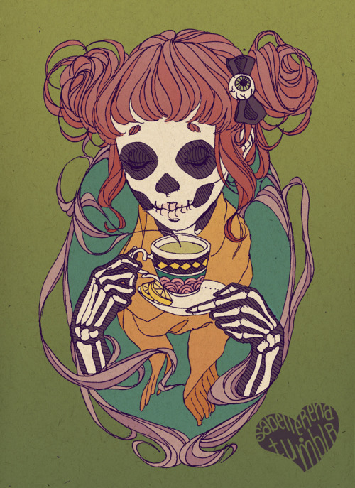 sabellerena:  Green Tea Ellie Halloween is coming!  Now this is a tattoo I would get.  I've been trying to figure out how to do a candy skull - esque thing happening, and this would be perfect!
