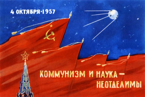 "fyeahcosmonauts:  Sputnik 1 was launched today in 1957. It only sent signals for 22 days, the batteries gave out on the 26th of October. It remained in orbit until 4 January 1958. ""Nobody back then was thinking about the magnitude of what was going on: everyone did his own job, living through its disappointments and joys."" -Oleg Ivanovsky, deputy designer for Sputnik"