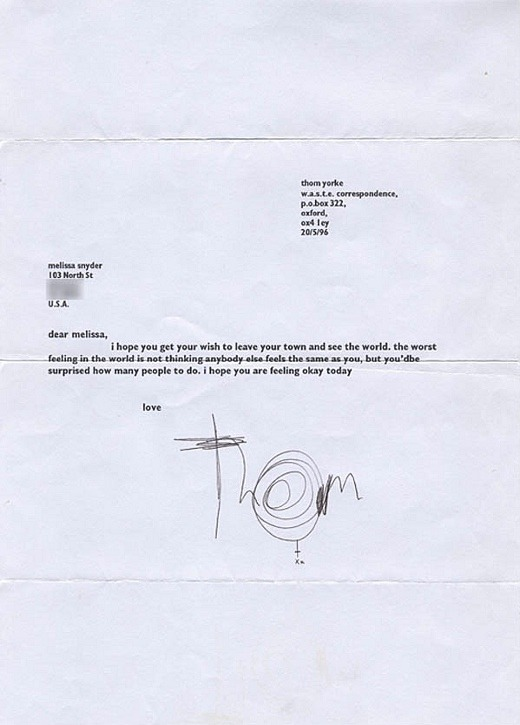 A letter from Thom Yorke to a fan