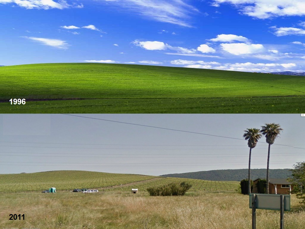 You know that wallpaper in Windows XP?That was taken in 1996.This is a photo taken of what it looks like now! In 2011.  And yes, it's a real place, not a computer generated one! Pass it around folks! #paradoxical-delusions