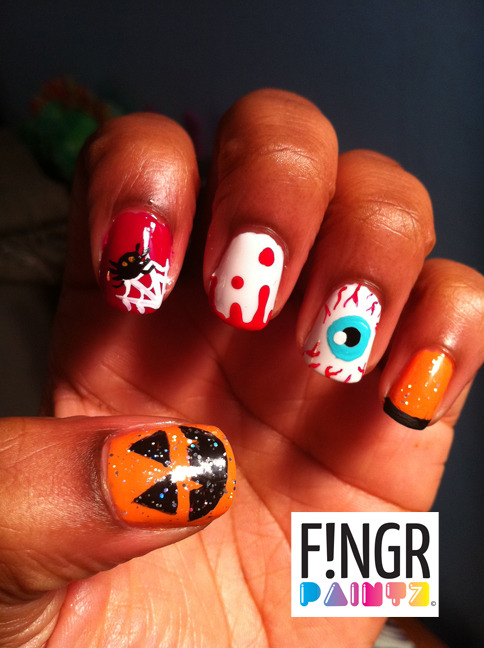 fingrpaintz:  Halloween nail art medley!! #spooky !! lol enjoy xoxo - Julia