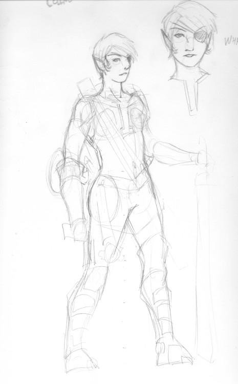 Rough sketch for Celene Evans, a half elf fighter/rogue. She lost her eye to a shield bash by a hobgoblin a few years back. Definitely need to rework her proportions.