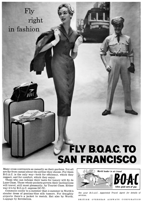 British Overseas Airway Corporation air travel advertisement, 1950's