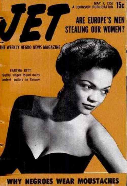 theniftyfifties:  Eartha Kitt on the cover of Jet, May 1953.  It's perfect for this time of year, since Eartha is also is in the awesome Halloween movie, Ernest Scared Stupid.