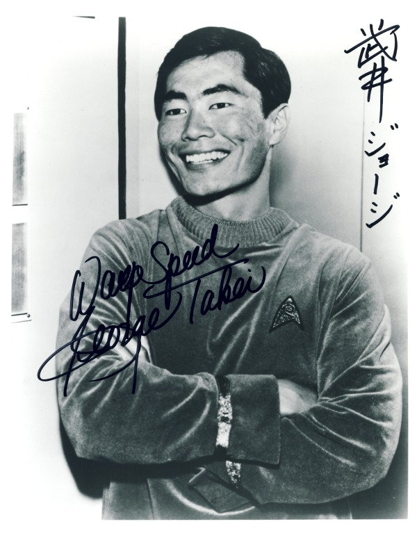 "Mister Sulu's (George Takei's) autograph, inscribed ""Warp Speed!"" and also signed in Japanese. ((Like This?  Check Out My Archive and Follow Me!))"
