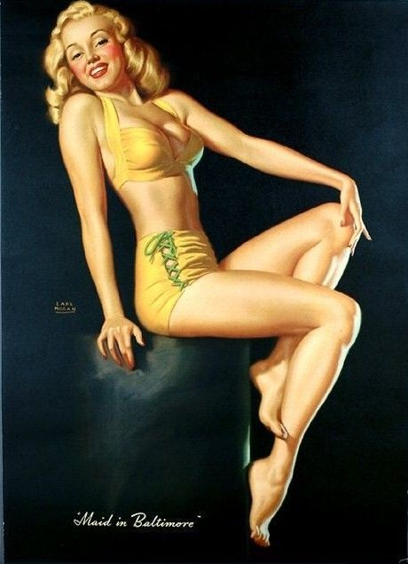 "Marilyn Monroe Pin-Up in 1946 Series ""Bikini"" Photographs of Earl Moran"