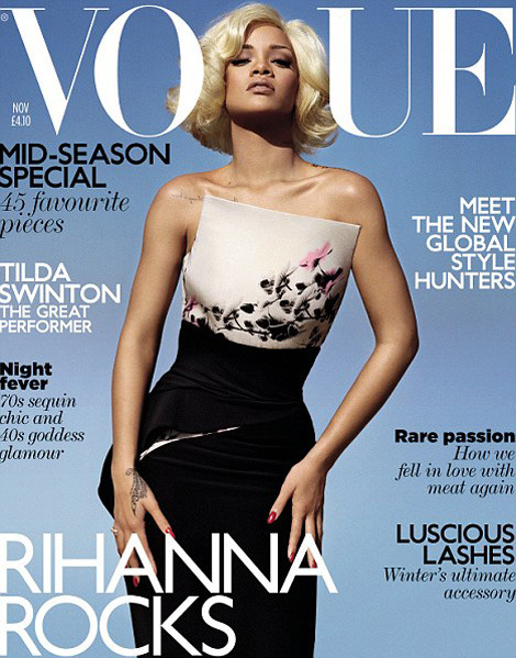 LOVE OR HATE?? RIHANNA'S BOMBSHELL BLONDE! Rihanna is making waves in the U.K. again—but it's not for what you think. Just after an Irish farmer kicked the provocative singer off his property when filming on her video got too stripped down and sexy, Ri-Ri reappeared this week on the cover of U.K. Vogue looking much classier and glamorous…