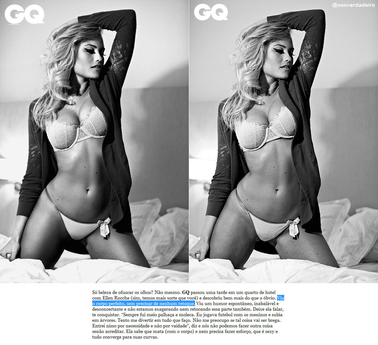 GQ, Ellen Rocche e o Photoshop…