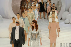 elle:  Paris Fashion Week Karl Lagerfeld and Florence Welch lead the model lineup for one last pass on the runway at today's Chanel show! Photo: Imaxtree