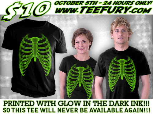 "Special one-off glow in the dark print coming to Teefury, courtesy of the very cool Rev GFX. r-evolution-gfx:  ""Radioactive Ribz"" on Teefury - By R-evolution GFX  Glow in the dark ink! $10 24 hours only! 5th of October @ www.teefury.com Perfect for halloween! Remember this tee is being printed by teefury using special ink, so will never be available anywhere again! (the glow ink version anyway), so put a reminder on your phone, tell your friends, even tattoo it on your forehead! don't miss out! —————————————— Also find R-evolution GFX @ Redbubble store - Facebook fan page - twitter"