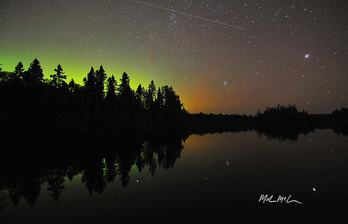 Shooting star and northern lights in Ontario, Canada (by Mark McCulloch)