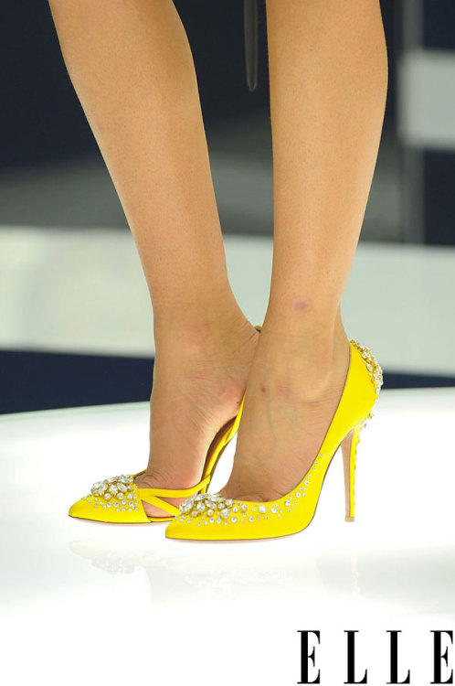 elle:  Paris Fashion Week A very sunny shoe style seen at the Vionnet presentation. Photo: Imaxtree