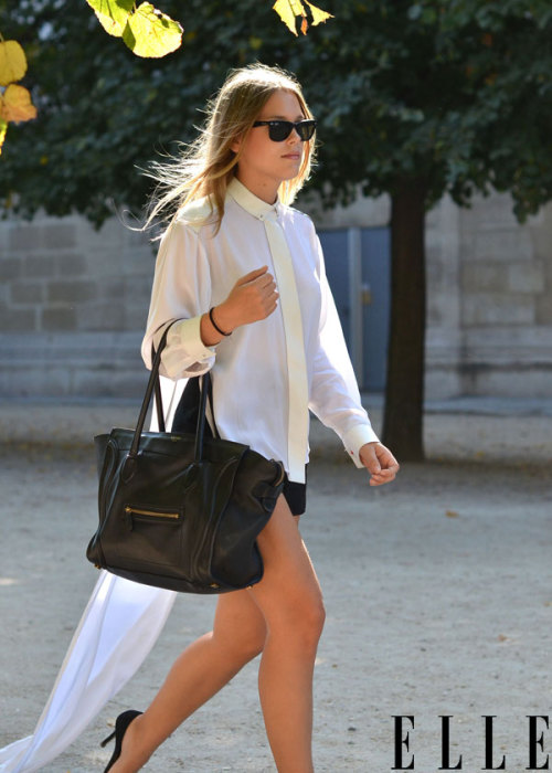 Street Chic: Paris Make a dramatic entrance in a sheer asymmetrical blouse. Photo: Courtney D'Alesio