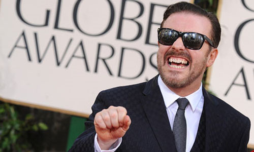 "totalfilm:  Ricky Gervais Golden Globes return planned Ricky Gervais' controversy-packed presentation of this year's Golden Globes was one of our favourite moments of 2011. And it looks like we'll be getting more of the same in 2012, albeit in a very different format.  Writing for the Wall Street Journal, Gervais revealed: ""I don't think I should host the Golden Globes again, even if I'm asked and that is very unlikely, to be honest… ""But because of the greatest thing about our society, freedom of speech, I can still host the Golden Globes, or any event on the planet.  ""I am working with a Californian technology company on a live webcast idea.[FOR THE FULL STORY, CLICK ON RICKY OR FOLLOW THIS LINK]  Funniest man in the world today. He got bumped up to 1 when Georgey died."