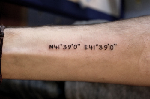 My 2nd Tattoo. Coordinates of the little town Batumi in Georgia.