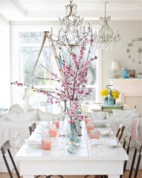 Love the white with the colorful accents (via Dreamy Whites - eclectic - dining room - other metros - by Dreamy Whites)