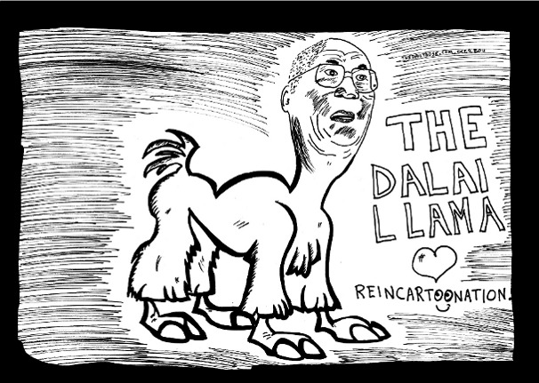 dalai llama cartoon and top ten dalai lama jokes by laughzilla for thedailydose.com
