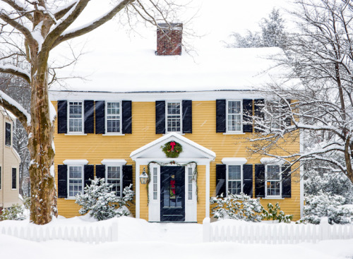 scout:  lifesappetites:  neaststyle:  New England Icons  This is what home looks like to me on Christmas morning.  I grew up in a Colonial house like this one. A bit smaller. So much nostalgia happening on my blog right now. Sorry, ya'll, it's just this time of year.