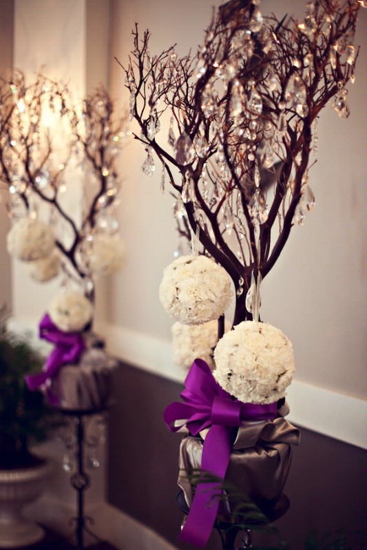 Branches: Branches can be absolutely beautiful for centerpieces.  They can be so naked looking, but in a bundle of roses or peonies, they can add drama.  Branches are amazing for the winter time as well.  Think color! You can spraypaint branches silver, red, black, or even gold.