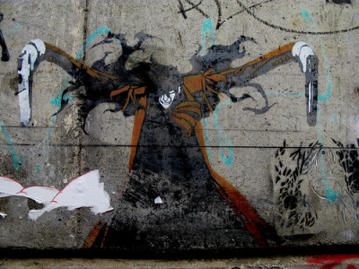 albotas:  Daily Graffiti: A Wild Alucard Approaches! Huge stencil piece of Alucard from the Hellsing anime series spotted in Melbourne, Australia by Jo Hobbs. Check out the DAILY GRAFFITI ARCHIVES for more geektastic street art!