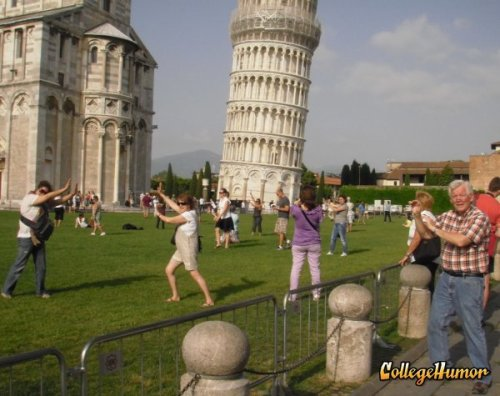 Awful Tourists at Leaning Tower of Pisa Someone should be lying on the ground to make it look like a boner while their spouse holds it up.