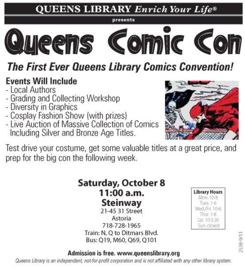I'll be on the local authors panel at Queens Comic Con, a new event at our local library in Astoria, Queens. More info at: http://www.facebook.com/event.php?eid=138878386210076&ref=nf