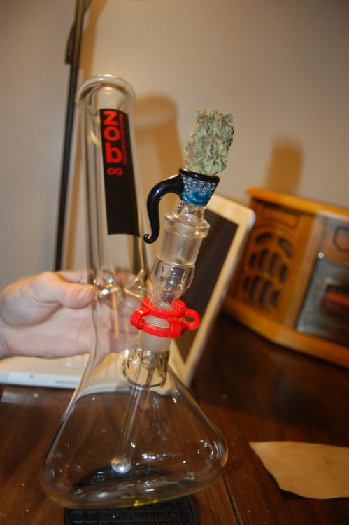 weedporndaily:  submission from currina:  Our ZOB beaker with custom RobinHood slide, oh and a big nug :)