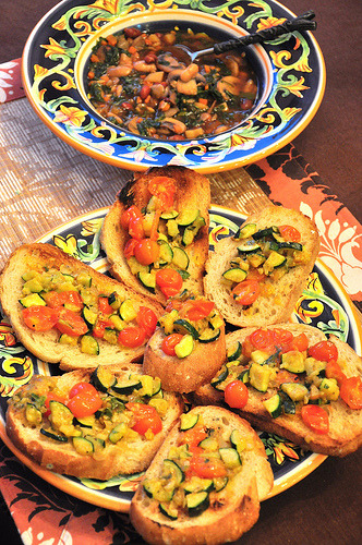 White Bean and Garlic Soup, Bruschetta (w/recipes)