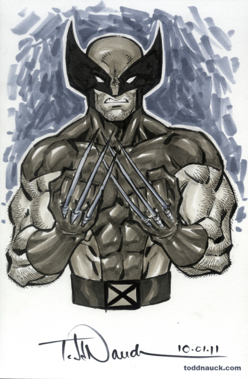 Wolverine. 1980's costume. This was the costume Wolverine was wearing when I first started reading comics as a kid. Copic sketch marker and Pentel pocket brush pen.