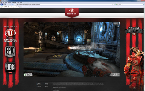 "Unreal Engine 3 comes to Flash   Today in Los Angeles our CEO & founder, Tim Sweeney, appeared on stage at the Adobe Max event to demonstrate Unreal Engine 3 running in Flash.  We've been working closely with Adobe on this technology for quite some time and today we are revealing it publicly.  A few months ago when we decided we would do a demo for this event, we weren't sure what we were going to show. The first content we decided to try in Flash was ""Epic Citadel"" and it ran amazingly well – better than we expected it would, considering how early on this was.  But we began thinking that maybe a demo of content designed for mobile was setting expectations too low and we should aim higher.    In my opinion, this is amazing and you should all check out more here"
