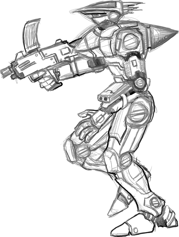 Tried to draw a humanoid sort of mecha. Not thrilled, but hey it's a sketch!