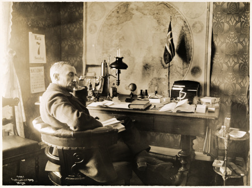 Roald Amundsen in his office at Uranienborg, Oslo, Norway (1910)