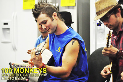 100 monkeys: san diego, ca @ best buy (08.28.11) • d'awwwh, look who we have here—the other mohawk in my life! and ..some other guy. i think his name is j..ackson? x] ♪ 100monkeysmusic.com@ 100monkeysmusic