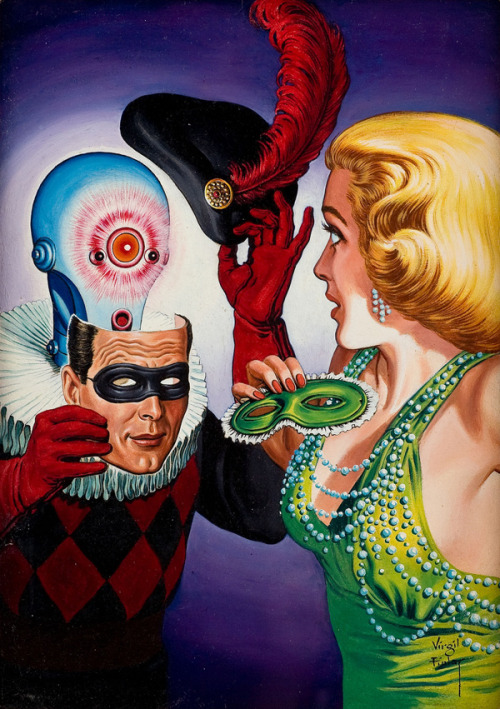 goddamndelightful:  Virgil Finlay, Masquerade Digest cover, oil on canvas. (via Fantastic Plangent - 50 Watts)