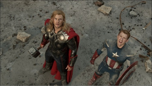 New still of The Avengers with Chris Evans & Chris Hemsworth: http://thechrisevansblog.blogspot.com/2011/10/new-avengers-still-with-chris-evans.html