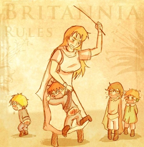 Mama Britannia and her four boys, from left to right, England, Scotland, Wales and Ireland. Mama Britannia or Albion, has a rule..when one gets in trouble..everyone gets punished, and here is the result of when Lil England wandered off while Scotland was supposed to be watching him, Wales and Ireland know they are next in line to be punished and are dreading the fury of their Mummy.