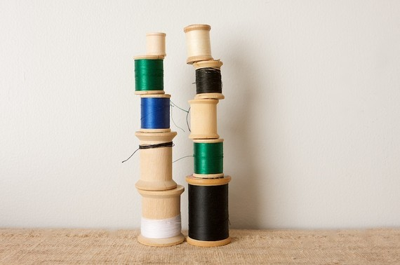 (via Wooden Sewing SpoolsSolid Colors by inmyigloo on Etsy)
