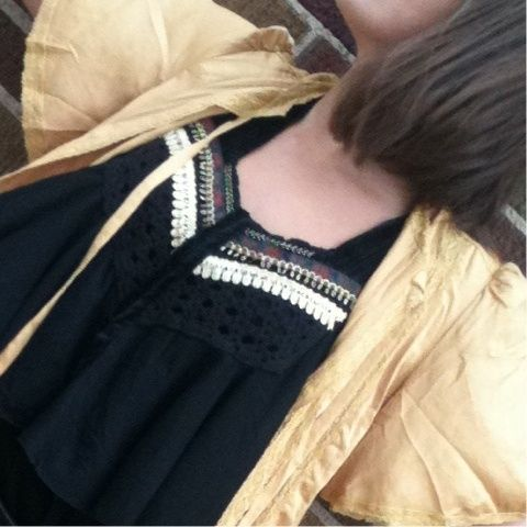 #freepeople #velvet gold trimmed tank with #lingerie inspired #jacket #ootra #boutique 1-312-852-7500 (Taken with Pose)