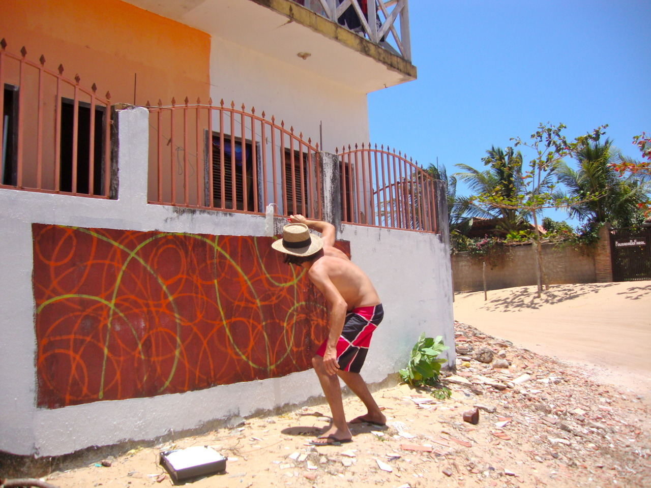 Bringing street art to a small beach town in Northeast Brazil. My hubby, talented artist and runs one of best street art tumblrs around www.rossiprojects.tumblr.com Work in progress. More to come!