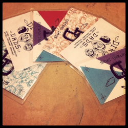 Dirtbag Dad D.I.Y. Spoke cards. They're still hot from the iron.